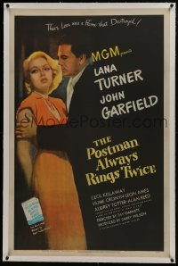 6a409 POSTMAN ALWAYS RINGS TWICE linen 1sh 1946 great close up of John Garfield & sexy Lana Turner!