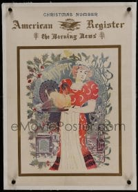 6a043 AMERICAN REGISTER & THE MORNING NEWS linen 17x24 English newspaper poster 1896 SG Xmas art!