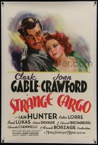 6a456 STRANGE CARGO linen style C 1sh 1940 great art of Clark Gable & Joan Crawford, ultra rare!