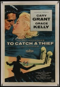 6a485 TO CATCH A THIEF linen 1sh 1955 art of beautiful Grace Kelly & Cary Grant, Alfred Hitchcock!