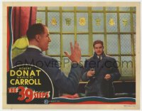 6b143 39 STEPS LC 1935 Alfred Hitchcock, image of Robert Donat w/ Tearle - the man with 4 fingers!