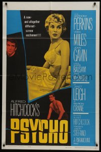 6b061 PSYCHO 1sh 1960 sexy half-dressed Janet Leigh, Anthony Perkins, Alfred Hitchcock classic!