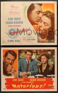 6b092 NOTORIOUS set of 8 LCs 1946 Cary Grant, Ingrid Bergman, Nazi Claude Rains, Alfred Hitchcock!