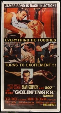 6c035 GOLDFINGER linen 3sh 1964 five great images of Sean Connery as James Bond, Shirley Eaton!