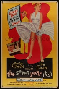 6c002 SEVEN YEAR ITCH 40x60 1955 Billy Wilder, sexy Marilyn Monroe's skirt blowing, ultra rare!