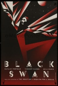 6c369 BLACK SWAN 4 heavy stock teaser English 1sheets 2010 striking La Boca deco art, complete set!