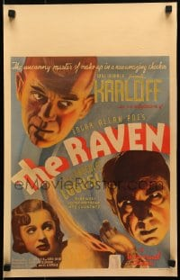 6c188 RAVEN WC 1935 art of uncanny master of makeup Boris Karloff, Bela Dracula Lugosi, ultra rare!