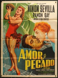 6k137 AMOR Y PECADO Mexican poster 1956 full-length art of sexy Ninon Sevilla by L. Mendoza!
