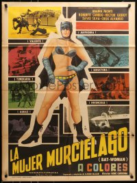 6k138 BATWOMAN Mexican poster 1967 Maura Monti, great art of sexy superhero and more!
