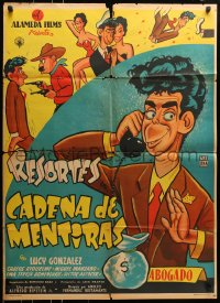 6k139 CADENA DE MENTIRAS Mexican poster 1955 wacky cartoon art of comedian Resortes by Cabral!
