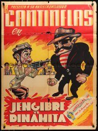 6k141 CANTINFLAS JENGIBRE CONTRA DINAMITA Mexican poster 1939 wacky art of him with gun!
