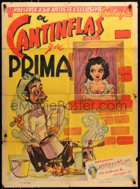 6k142 CANTINFLAS Y SU PRIMA Mexican poster 1940 wacky art of him cooking outside apartment!