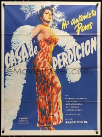 6k143 CASA DE PERDICION Mexican poster 1956 sexy Maria Antonieta Pons in see-through pepper dress!