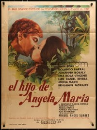 6k147 EL HIJO DE ANGELA MARIA Mexican poster 1974 romantic kissing close-up, top cast in forest!