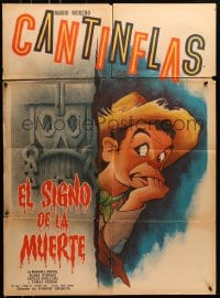 6k149 EL SIGNO DE LA MUERTE Mexican poster 1939 great wacky artwork of scared Cantinflas!