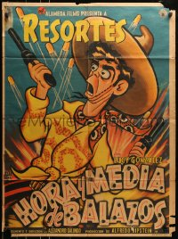 6k150 HORA Y MEDIA DE BALAZOS Mexican poster 1957 Luis Aragon, Lupe Carriles, artwork by Cabral!