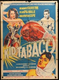 6k151 KID TABACO Mexican poster 1955 Silvestre, Zacarias Gomez Urquiza, different boxing art!