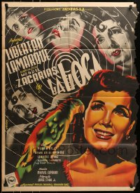 6k154 LA LOCA Mexican poster 1952 art of Mad Woman Libertad Lamarque by Juan Antonio Vargas Ocampo!