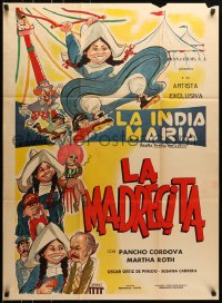 6k155 LA MADRECITA Mexican poster 1974 wacky artwork of Maria Elena Velasco in title role!