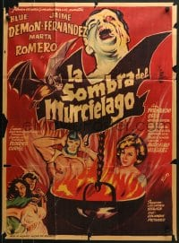 6k156 LA SOMBRA DEL MURCIELAGO Mexican poster 1968 great Ruiz art of Blue Demon in cauldron!