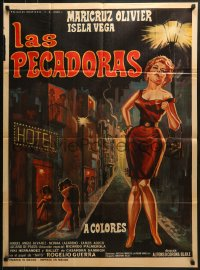 6k157 LAS PECADORAS Mexican poster 1968 great art of sexy prostitute in the red light district!