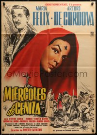 6k164 MIERCOLES DE CENIZA Mexican poster 1958 Mendoza art of Maria Felix with Lent cross on head!