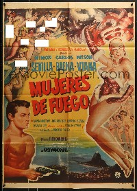 6k165 MUJERES DE FUEGO Mexican poster 1959 super sexy art of many naked showgirls + full-length dancer!