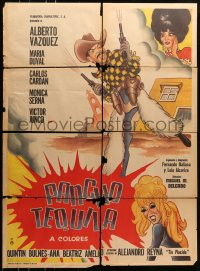 6k168 PANCHO TEQUILA Mexican poster 1970 Alberto Vazquez, Maria Duval, wacky western artwork!