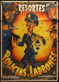 6k170 POLICIAS Y LADRONES Mexican poster 1956 really great artwork of scared policeman & crooks!