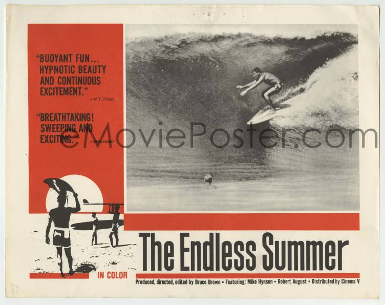 1 Of 2 6m345 ENDLESS SUMMER LC 1967 Bruce Brown Robert August Riding Wave Over Mike Hynson Rare