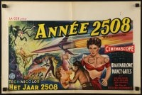 6p281 WORLD WITHOUT END Belgian 1956 different sci-fi art with sexy Nancy Gates!