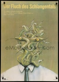 6p298 CURSE OF SNAKES VALLEY East German 23x32 1989 completely wild snake-head artwork!