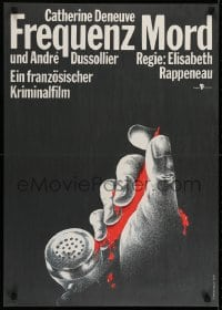 6p311 FREQUENT DEATH East German 23x32 1990 cool art of bloody hand on phone by D. Heidenreich!