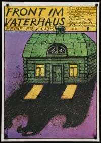 6p313 FRONT IN THE FATHER'S HOUSE East German 23x32 1987 Bofinger art of house with strange shadow!