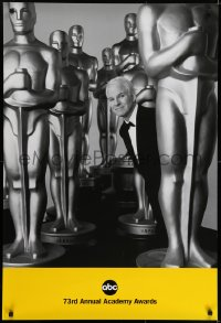 6r009 73RD ANNUAL ACADEMY AWARDS 1sh 2001 Steve Martin in the middle of large Oscar Statues, rare!
