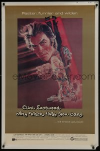 6r039 ANY WHICH WAY YOU CAN 1sh 1980 cool artwork of Clint Eastwood & Clyde by Bob Peak!