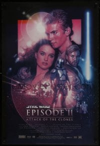 6r043 ATTACK OF THE CLONES style B DS 1sh 2002 Star Wars Episode II, artwork by Drew Struzan!