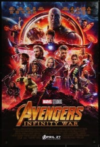 6r048 AVENGERS: INFINITY WAR advance DS 1sh 2018 Robert Downey Jr., Pratt, Evans, great montage!