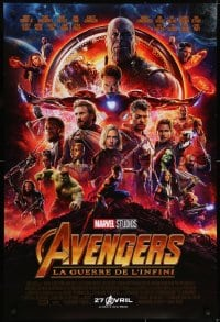 6r049 AVENGERS: INFINITY WAR int'l French language advance DS 1sh 2018 Robert Downey Jr., montage!
