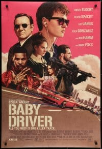 6r052 BABY DRIVER advance DS 1sh 2017 Ansel Elgort in the title role, Foxx, artwork by Rory Kurtz!