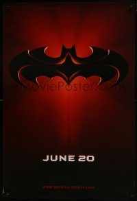 6r062 BATMAN & ROBIN advance DS 1sh 1997 Clooney, O'Donnell, cool image of bat symbol!
