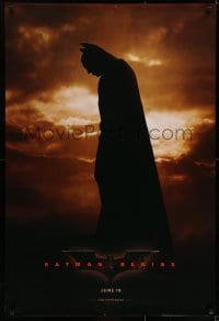 6r068 BATMAN BEGINS teaser 1sh 2005 June 15, full-length image of Christian Bale in title role!
