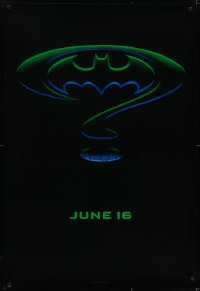 6r072 BATMAN FOREVER teaser DS 1sh 1995 Kilmer, Kidman, cool question mark & bat symbol design!