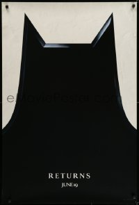 6r075 BATMAN RETURNS teaser 1sh 1992 Burton, Keaton, cool partial bat symbol, dated design!