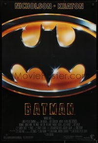 6r064 BATMAN style D 1sh 1989 directed by Tim Burton, Nicholson, Keaton, cool image of Bat logo!