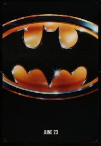 6r065 BATMAN teaser 1sh 1989 directed by Tim Burton, cool image of Bat logo, matte finish!