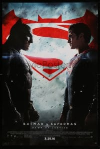 6r077 BATMAN V SUPERMAN advance DS 1sh 2016 Ben Affleck and Henry Cavill in title roles facing off!