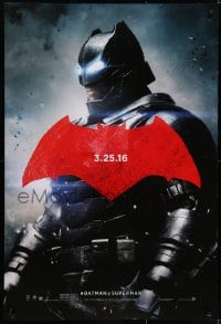 6r080 BATMAN V SUPERMAN teaser DS 1sh 2016 cool image of armored Ben Affleck in title role!