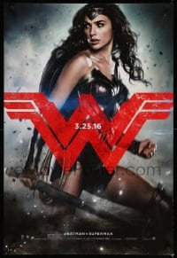 6r081 BATMAN V SUPERMAN teaser DS 1sh 2016 great image of sexiest Gal Gadot as Wonder Woman!
