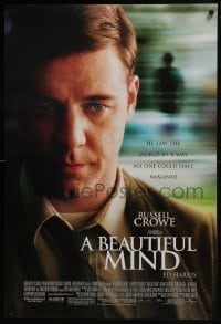 6r083 BEAUTIFUL MIND DS 1sh 2001 Ron Howard directed, great close up image of Russell Crowe!